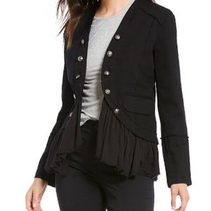 Black military ruffle denim jacket